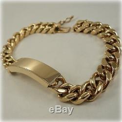 9ct Gold 8 solid Curb Link Identity Bracelet