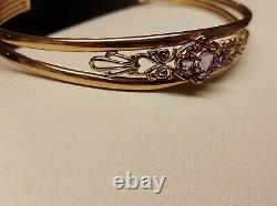 9ct Gold Amethyst Torque Bracelet Weight 6.5g