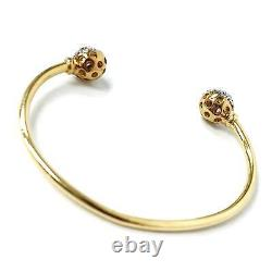 9ct Gold Baby Bangle Torque Yellow with Pink Cubic Zirconia 4.9g Hallmarked