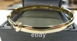 9ct Gold Bangle Child's/Baby Expanding Floating Heart Gift Boxed 3 grams