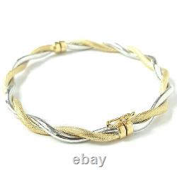 9ct Gold Bangle Ladies Twist Hinged YELLOW AND WHITE GOLD 4.8g 4.8mm Wide