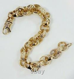 9ct Gold Belcher Bracelet Plain & Patterned 35.7 grams Solid