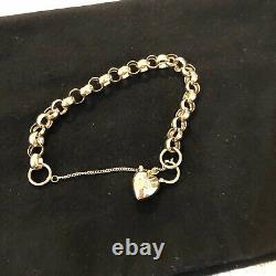 9ct Gold Belcher Bracelet With Diamond Set Padlock