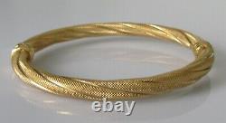 9ct Gold Bracelet 9ct Yellow Gold Rope Twist Spring Hinged Bangle Bracelet