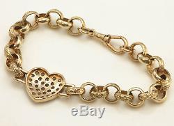 9ct Gold CHUNKY Sparkly Heart BELCHER Bracelet 19.5g Handmade UK