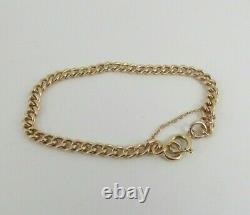 9ct Gold Curb Bracelet Albert Watch Chain Antique Hallmarked 8.25'' 12.7 grams
