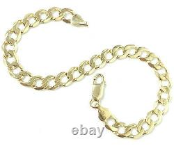 9ct Gold Curb Bracelet Solid Yellow Men's 12.3g 6.5mm 8.5 Inches HALLMARKED