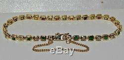 9ct Gold Emerald & Diamond Ladies Bracelet Solid 9K Gold