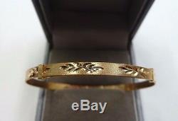 9ct Gold Expanding Matt Finish Patterned Baby Bangle 2.2 grams Gift Boxed