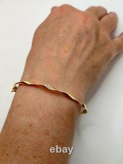 9ct Gold Fancy spiral ribbon bangle hoop bracelet ladies UK Hallmarked+ gift box