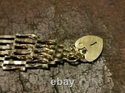 9ct Gold Gate Bracelet with Safety Chain & Heart Shaped Locket 4.1 grams