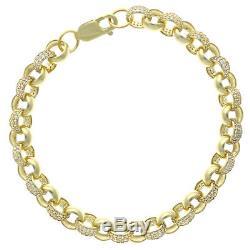 9ct Gold Gem-Set Belcher Bracelet -7.5 mm -14 G -6.5 Inches -Hallmarked T1 6.5