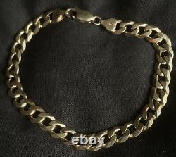 9ct Gold Hallmarked Heavy Flat Curb Link Bracelet 15 Grams 8.4 Long