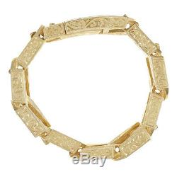 9ct Gold Heavy-weight Ornate Square Curb Bracelet 8.5 RRP £6730 (B40 8.5 A)