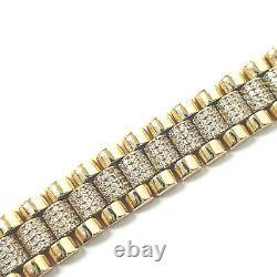 9ct Gold Kids Baby Bracelet Cubic Zirconia CZ Stones NEW Yellow 22.8g 5.5 inches