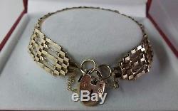 9ct Gold Ladies 5 Bar Gate Link Bracelet. 5.7 Grammes. 6.5 Inch. Hallmarked