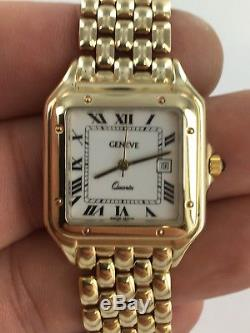 9ct Gold Ladies Gents Geneve Solid Gold Bracelet Watch Tank Style 62.04 Grams