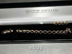 9ct Gold Men's Gem-Set Belcher Link Bracelet 7.5mm-9 inches 18.7G