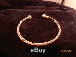 9ct Gold Mens Solid Twisted Torque Bangle 3mm Width 15.4 grams NEW