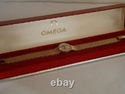 9ct Gold Omega. Ladies vintage watch, circa 1970. Original box. Serviced