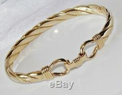 9ct Gold On Silver Men's Heavy Hook Bangle