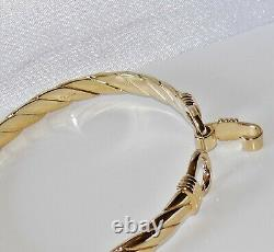 9ct Gold On Silver Men's / Ladies Heavy Hook Bangle