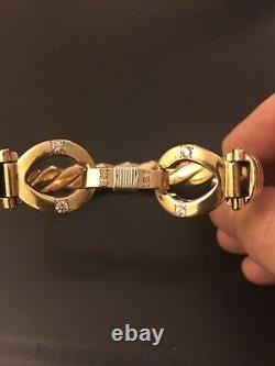 9ct Gold Push hook Bangle Really Heavy With 8Diamonds 129grams