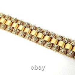 9ct Gold Rolex Style Bracelet White Stones Solid Links Men's Size 42.5g 8 inches