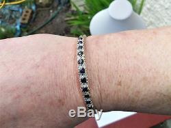 9ct Gold Sapphire & Diamond Bangle Bracelet