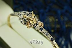 9ct Gold Sapphire & Diamond Panther Bangle Bracelet. Superb. NICE1