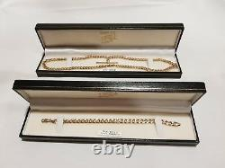 9ct Gold T-bar necklace and bracelet