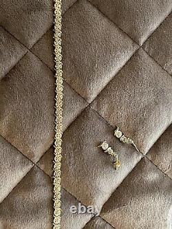 9ct Gold Tennis Style Bracelet And Earrings