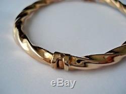 9ct Gold Twist Hinge Bangle Bracelet Hallmarked