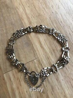 9ct Gold Yellow Gate Bracelet with hallmarked heart lock and safety chain