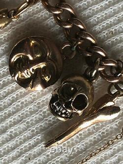 9ct Gold charm bracelet with unique charms 33.7grams