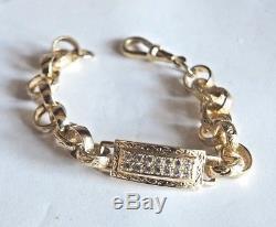 9ct Gold childs belcher Diamond set panel bracelet, 6.1/4 inch in length