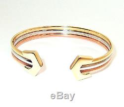 336cd19708462 9ct Hallmarked Polished Yellow, White & Rose Gold Banded Ladies ...