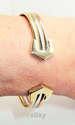 9ct Hallmarked Polished Yellow, White & Rose Gold Banded Ladies Torque Bangle
