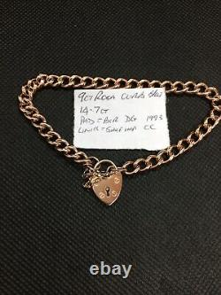 9ct Red/Rose Gold Curb Link Bracelet With Padlock Catch (SOLID GOLD NOT HOLLOW)
