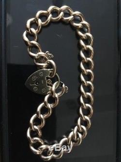 9ct Rose Gold Charm Bracelet. Padlock Clasp