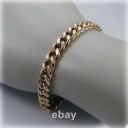 9ct Rose Gold Curb Link 7.5 Bracelet