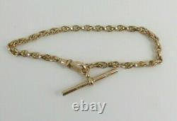 9ct Rose Gold Edwardian Albert Watch Chain Bracelet Antique 16.7grams