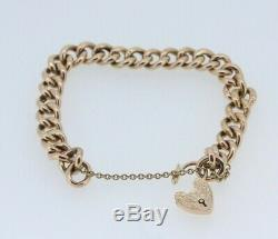 9ct Rose Gold Edwardian Hollow Curb Padlock Bracelet & Safety Chain