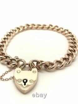 9ct Rose Gold Vintage Charm Bracelet Heart Padlock Hollow 7.5 12.80g