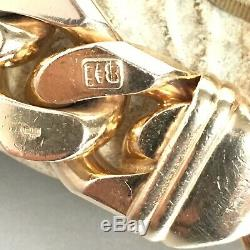 9ct SOLID ROSE GOLD CURB BRACELET HEAVY MEN'S CHAIN LINK 112.2g LONG 9