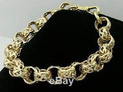 9ct Solid Gold Celtic BELCHER Link BRACELET -Designer Keltic style 8inch LONG