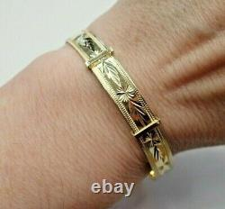 9ct Solid Gold Expanding Patterned Bangle 6.7 grams Small Ladies 6 1/4