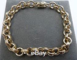 9ct Solid Gold Ladies Plain & Patterned Belcher Bracelet 21 grams