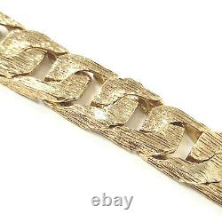 9ct Solid Gold Men's Bracelet Barked Square Curb Yellow 12mm Wide 57g 7.5 Inches