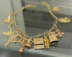 9ct Solid Gold & Twelve Charm Bracelet 18.42g / 18cm